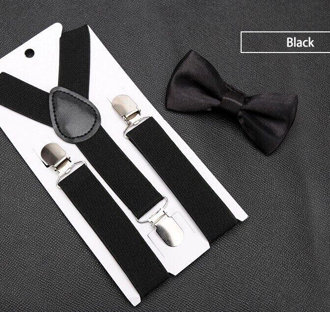 Adjustable Braces Suspenders & Bow For Children Trouser Elastic Clip On Unisex