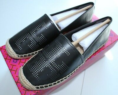 241759c78971 NIB Authentic TORY BURCH Perforated Logo Leather Flat Espadrille in Black  Sz 8