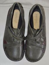 PAVERS  LADIES VINTAGE TOUCH FASTENING LEATHER SHOES SIZE UK 6 olive/wine