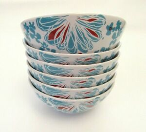 IKEA-Bullra-Cereal-Bowls-Set-of-6-White-Turquoise-And-Red-Flowers