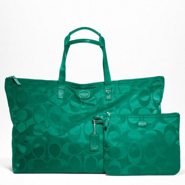 Coach XL Jade Green Sig. Nylon Packable Getaway Weekender Tote Travel Bag F77316