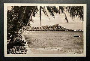 Mint-Vintage-Diamond-head-Honolulu-Hawaii-Real-Photo-Postcard-RPPC