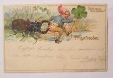 """""""Pfingsten, Zwerge, Hirschkäfer, Kleeblatt"""" 1901, Prägekarte, Lito ♥ (38659)"""