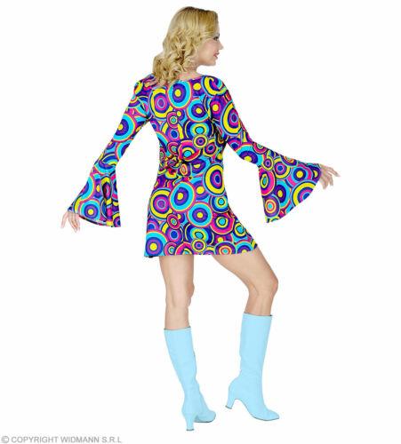 Groovy années 70er robe manches trompettes taille S à XL-Mini-robe Bubbles bleu