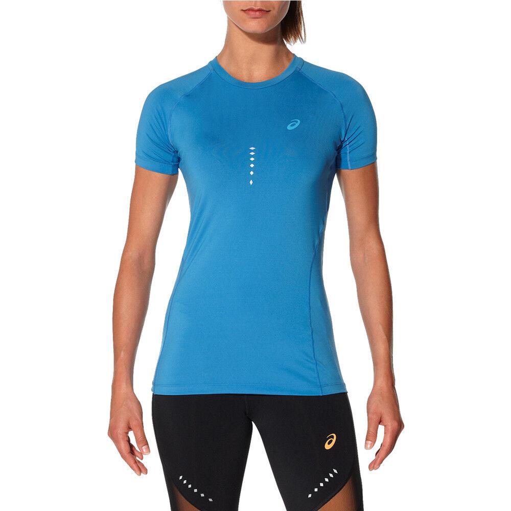 Asics Women's Performance Haut à Manches Courtes Bleu Run T-shirt Tee Gym De Formation