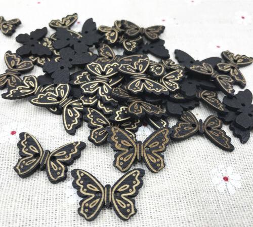 En bois boutons papillon noir couture scrapbooking décoration 2 Trous Craft 24 mm