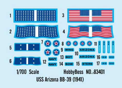 1941 HobbyBoss 83401 1//700 USS Arizona BB-39 Military Plastic Assembly Model