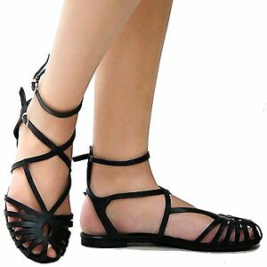 1cb9f03d522771 Image is loading New-Women-BP3-Black-Caged-Gladiator-Strappy-Ankle-