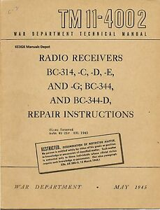 PDF TM 11-4002 BC-314 BC-344 Military Repair Instructions Manual CDROM