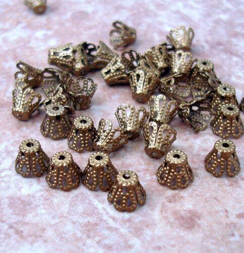 Antique Bronze Bead Caps 7x10mm. 50pcs