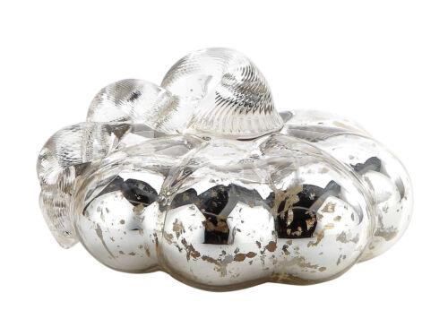 New 4 Hand Blown Art Glass Mercury Silver Pumpkin Sculpture Figurine Fall