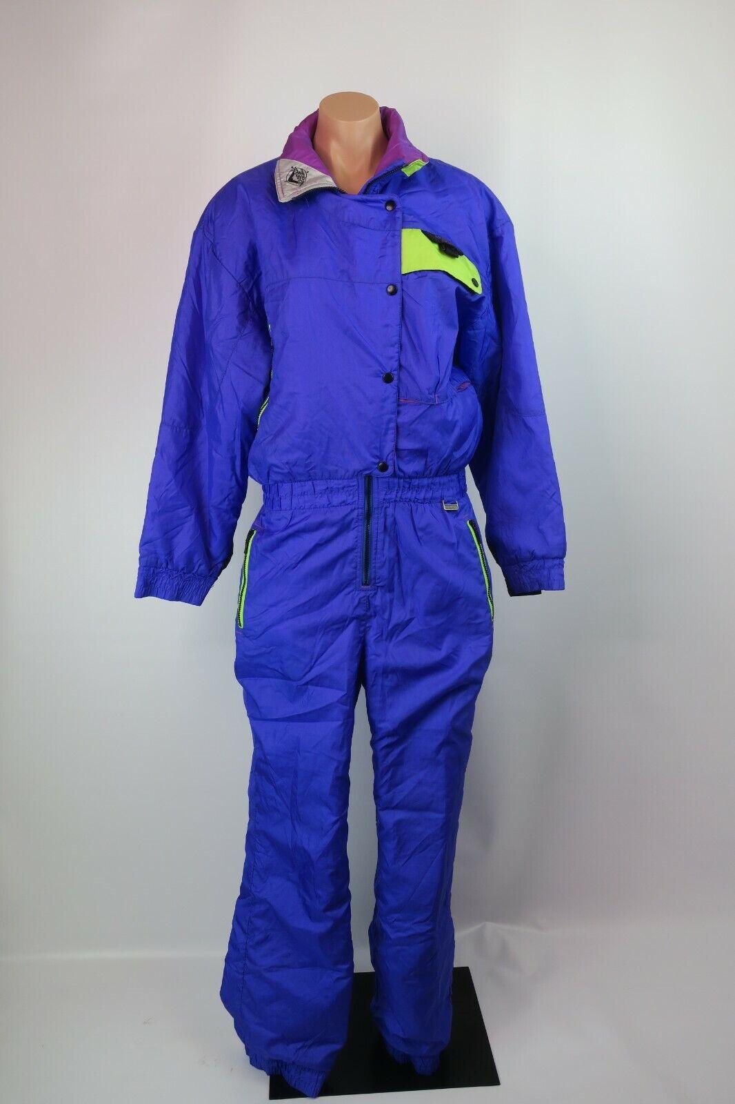 Vtg 80s 90s  Neon Womens PURPLE SKI SUIT One Piece Snow Bib Sz 14 MOUNTAIN GOAT  new products novelty items