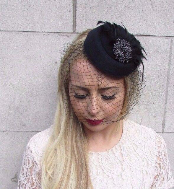 Black Birdcage Veil Feather Pillbox Hat Hair Fascinator Races Funeral Clip  3916 3dc9c0e8f55