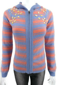 NEW GLUCKSFALL SWEATER with HOOD Size M CASHMERE WOOL Stone Embroidered