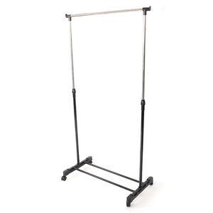 Adjustable-Rolling-Clothes-Rack-Hanger-Shelf-Garment-Adjustable-Single-Bar
