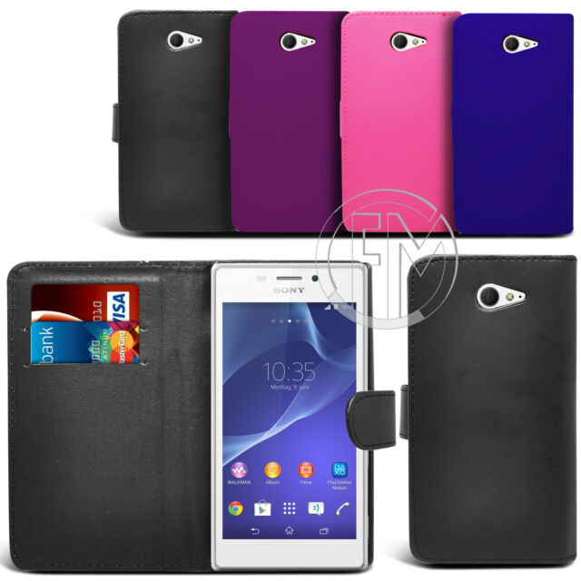 BOOK WALLET PU LEATHER CASE COVER POUCH FOR XPERIA M2
