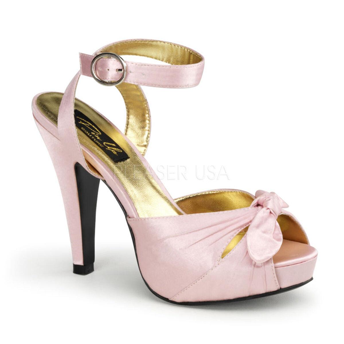 Sexy Schuhes Baby Pink Pleated Satin Platform Sandales Retro 50's Heels BETT04/BPSA