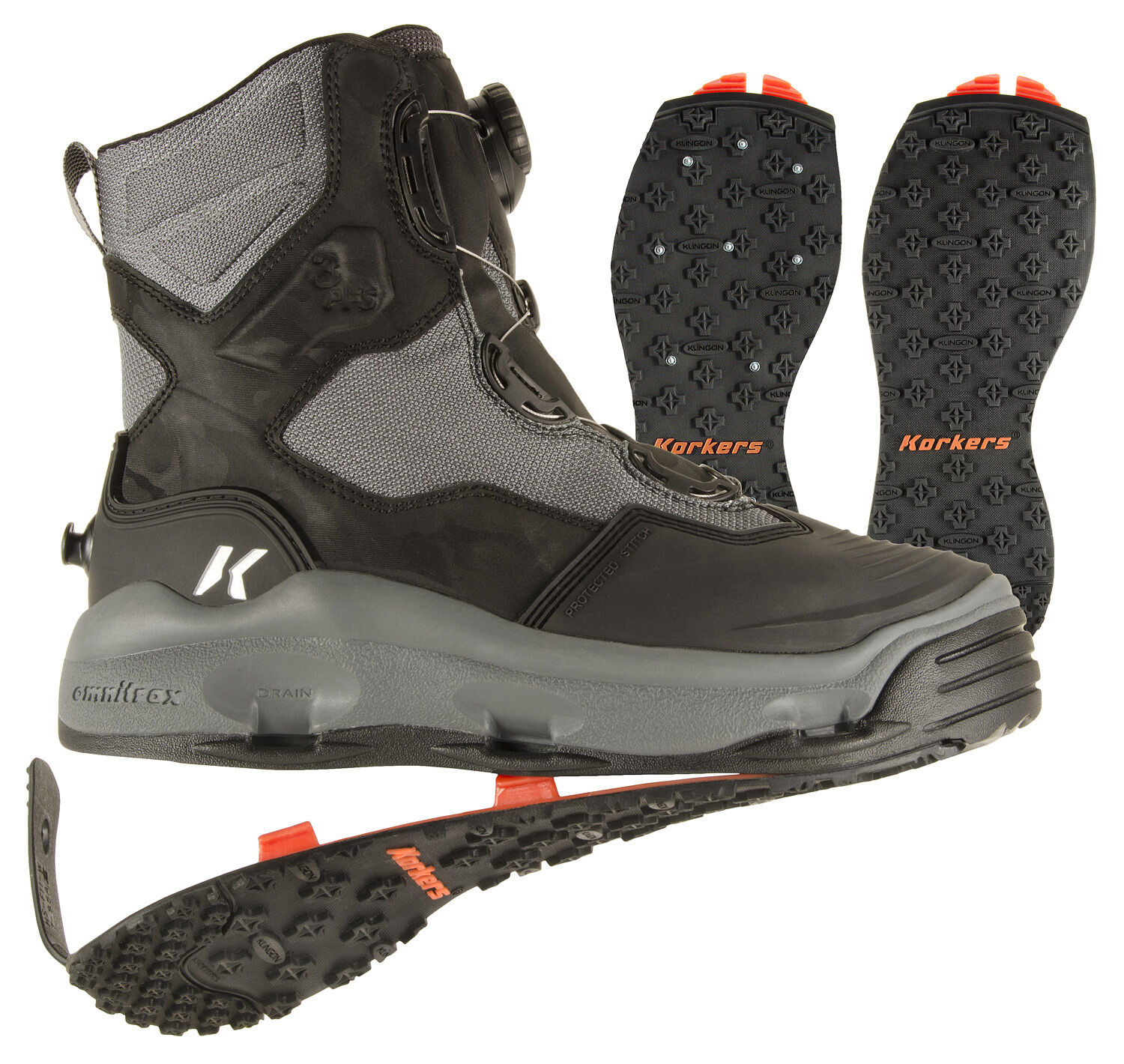 SIZE KORKERS DARKHORSE WADING FISHING BOOT, STUDDED +KLING-ON SOLES