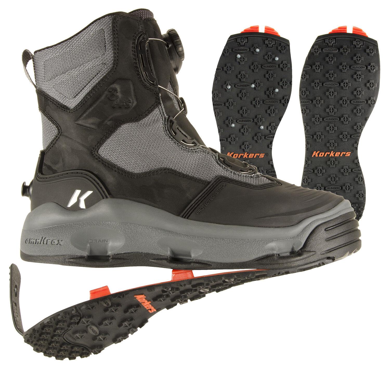 Tamaño  11 botas KORKERS Darkhorse Vadeo Pesca bota, Con Tachas + Kling-en las suelas