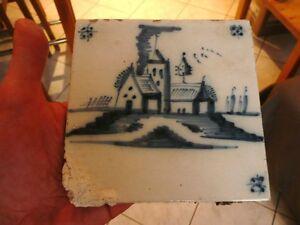 Ancien carreau de faience terre cuite motif bleu carrelage for Un carreau de terre
