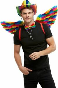 Men-039-s-Rainbow-Stetson-Fancy-Dress-Cow-Hat-amp-Angel-Wings-Stag-Theme-LGBT-Pride-Do