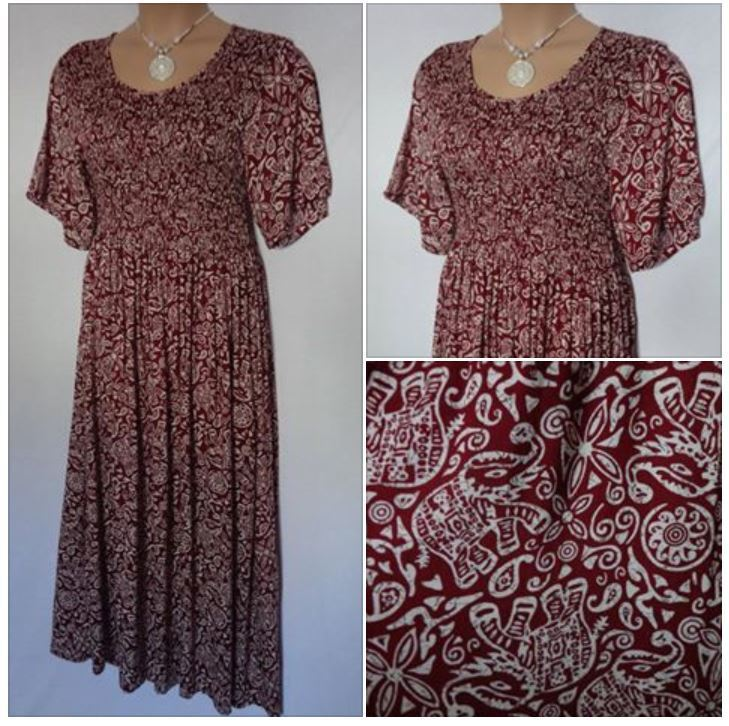 FRANKEN MAROON Short Sleeve SUMMER MAXI DRESS HOLIDAY T PARTY Plus SIZE 14 - 16