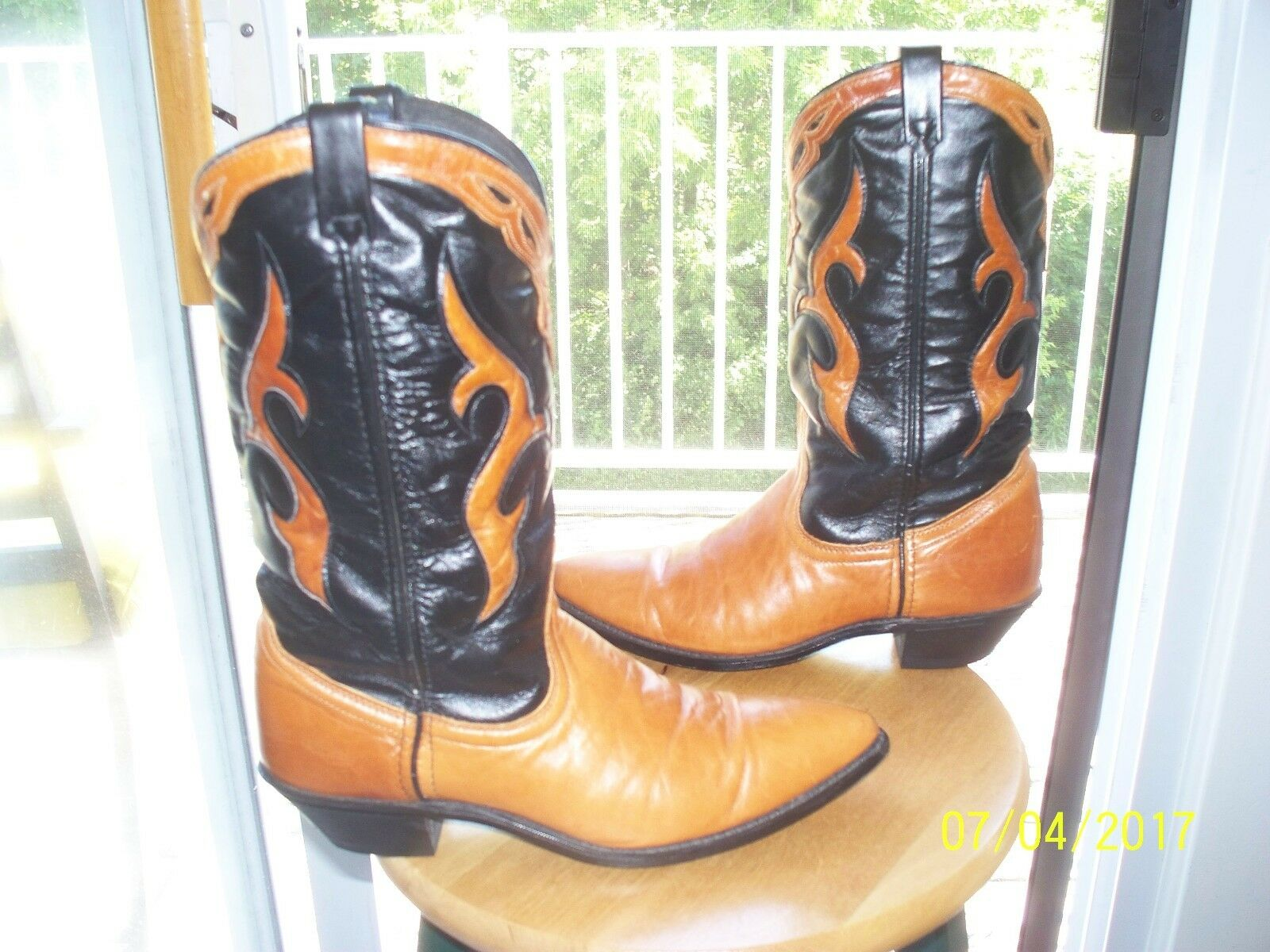 Vtg Dingo 8 M BLK & Carmel highly styled western cowboy bottes Excellent  USA
