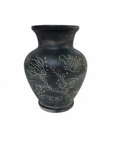 Jarron-de-ceramica-con-Relieves-Rustico-23cm-altura-Decoracion-Peces