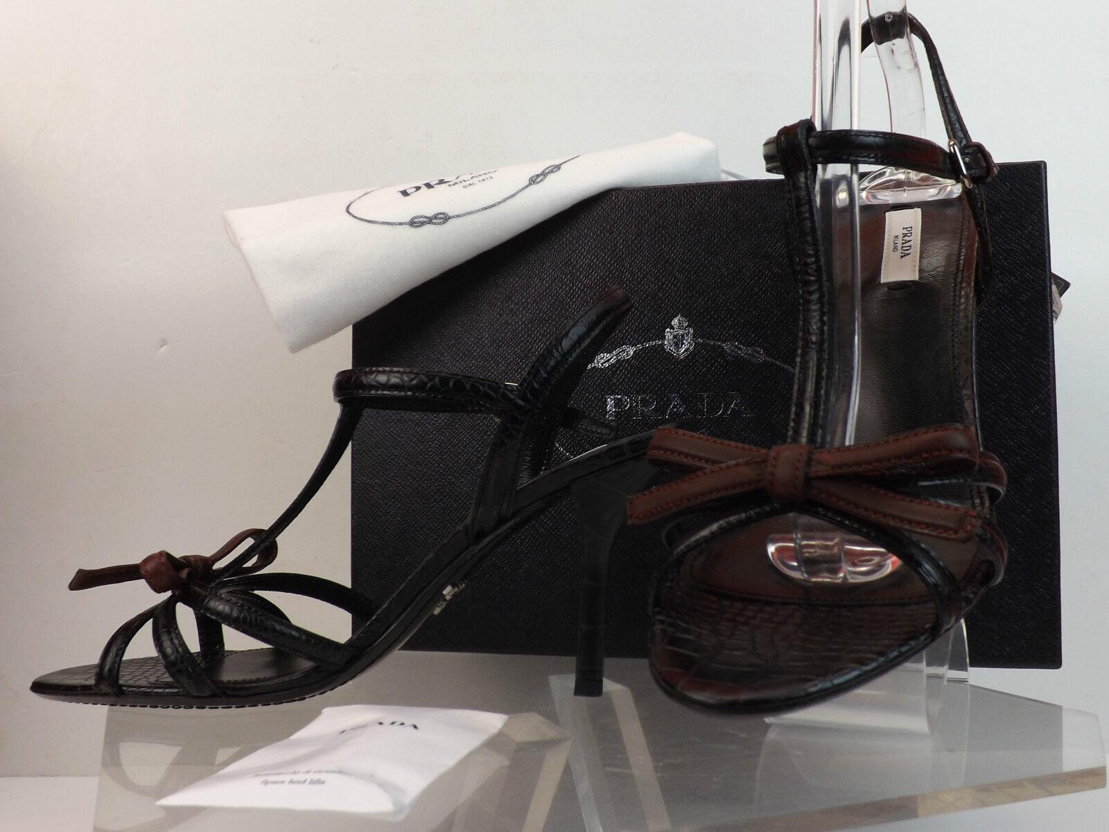 Negro De Cuero Estampado De De De Cocodrilo Nuevo en Caja Prada Borgoña Arco Sandalias Bombas 40.5  700  buscando agente de ventas
