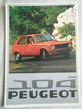 Peugeot 104 range brochure 1976 Export English text