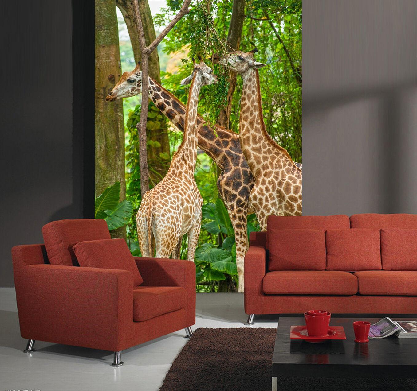 3D Forest Giraffes 199 WallPaper Murals Wall Print Decal Wall Deco AJ WALLPAPER