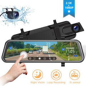 "TOGUARD Dual Dash Cam 10"" Mirror Car Camera Streaming Touch Screen Night Vision"