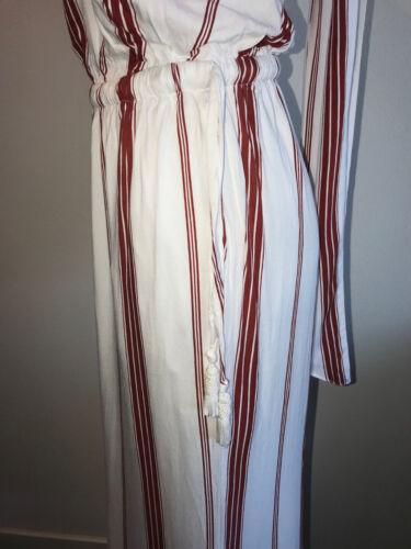 "NEW FAITHFULL /""FLEETWOOD/"" RED WHITE STRIPE CAPRI GAUCHO 70s STYLE JUMPSUIT 4 S"