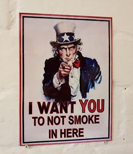 No smoking safety plaque retro vintage style metal wall plaque sign