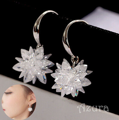 AAA Zircon Crystal Snow Flower Snowflake Drop Dangle 925 Silver Earrings