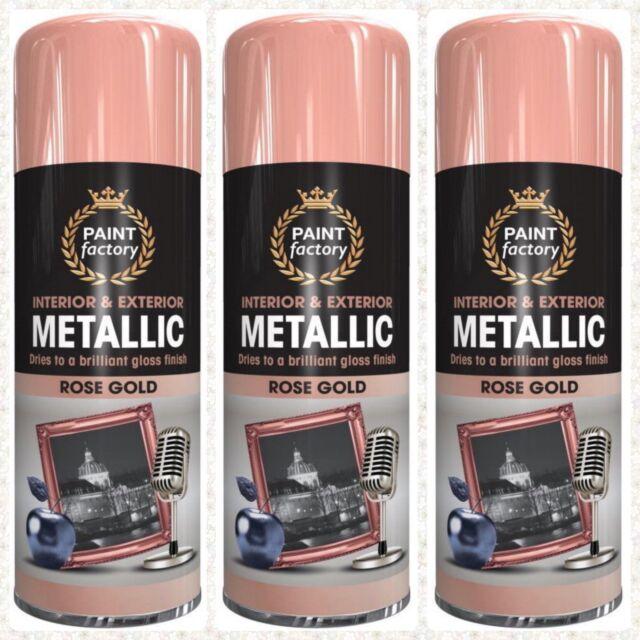 1x 2x 3x 400ml All Purpose Rose Gold Metallic Spray Paint Aerosol Household Car