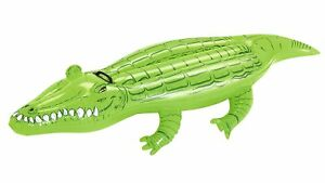 80-Inch-Inflatable-Pool-Float-Crocodile-Ride-On-Lilo-Lounger-Summer-Beach-Fun