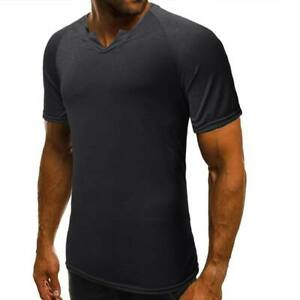 Muscle-tee-t-shirt-short-sleeve-men-039-s-tops-slim-fit-v-neck-blouse-casual