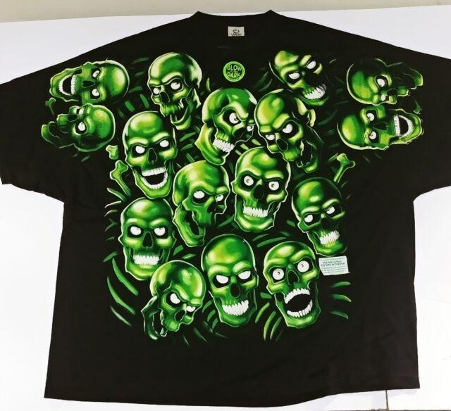 VTG Liquid Blue Green Skull 3 6 Mafia Juicy J Travis Scott 5XL Yeezy ... 6aef84afc