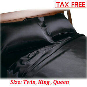Image Is Loading Satin Charmeuse Sheet Set Queen King Soft Silk