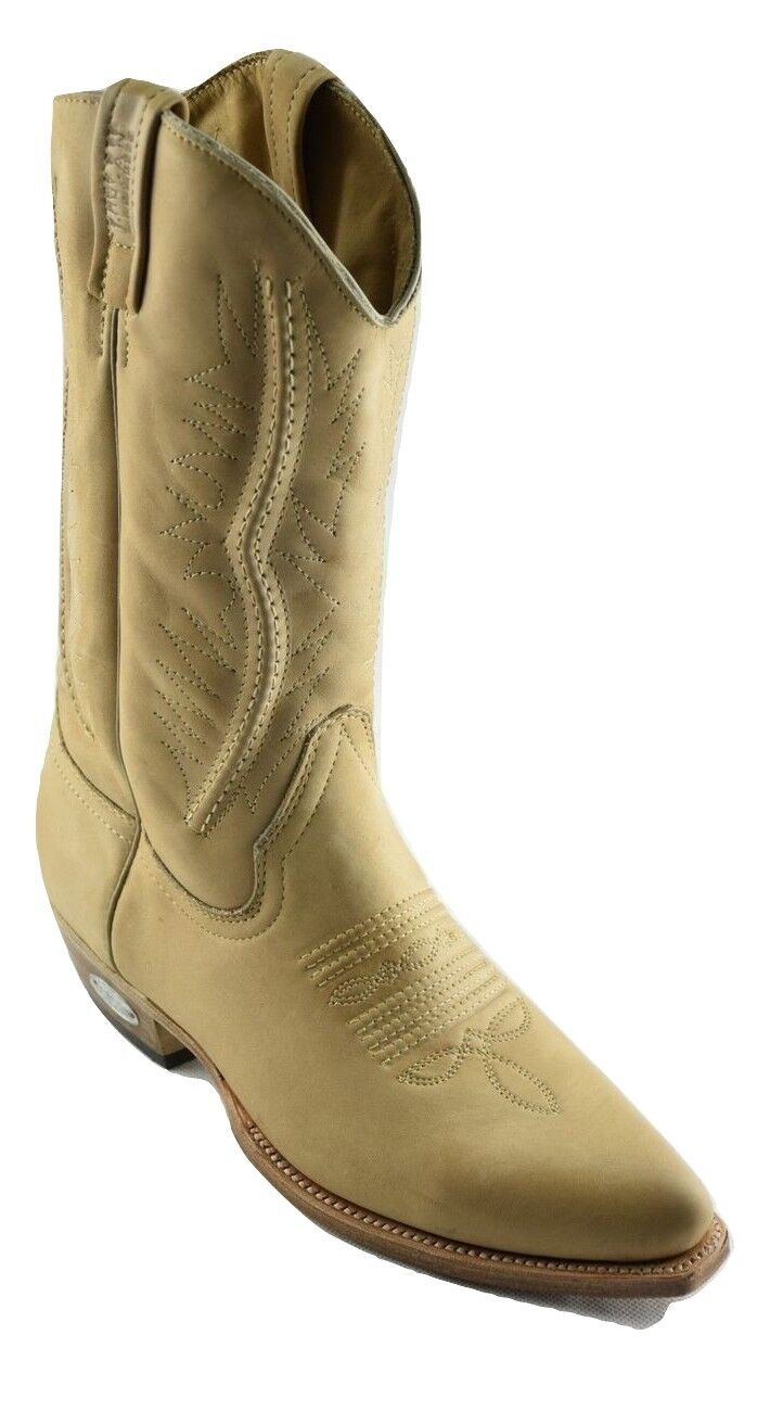 Loblan 2616 Tan Waxy Leather Cowboy Boots Hand Made Classic Biker Western 206