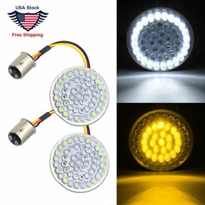 2 Pcs 2inch Bullet Style 1157 White//Amber LED Turn Signal Inserts Lights For Harley Davidson