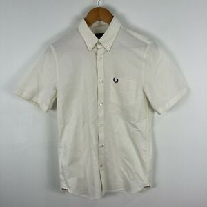 Fred-Perry-Mens-Button-Up-Shirt-Small-Cream-White-Short-Sleeve-Collared