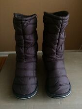 L.L. Bean LL Brown Quilted Hard Sole Tall Boots Slippers 10 M Brown