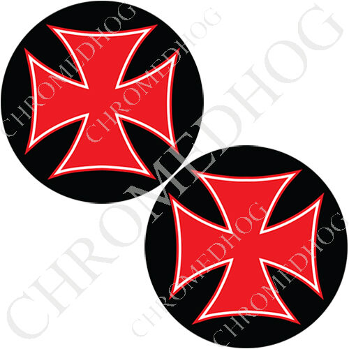 Red Iron Cross Blk Brake Insert Medallion Decal Set for Harley Brembo Calipers