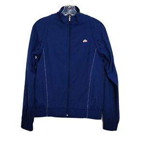Ellesse Blue Zip Up Jacket Long Sleeve Athletic Embroidered Logo Womens Size S