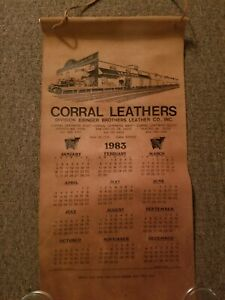 Vintage-1983-Corral-Leathers-Rawhide-Wall-Hanging-Calendar-11-5-034-x-23-034