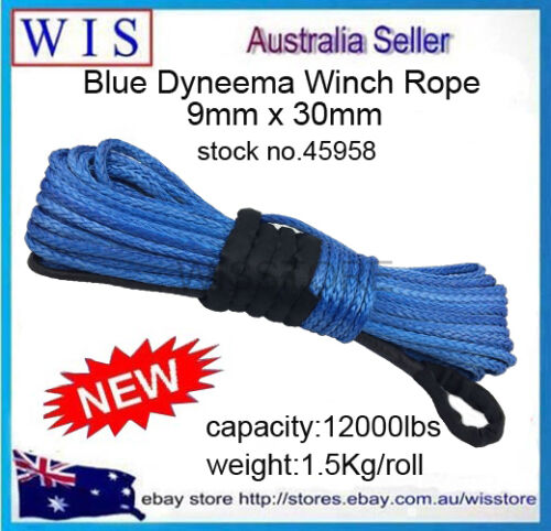 Blue Dyneema Winch Rope,Synthetic Cable 9mm x 30m 4WD Recovery Offroad45958