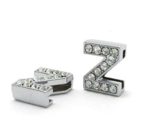 8MM DIY Slide Charms Rhinestone Letters A-Z Pendant 1pc For Necklace Bracelet