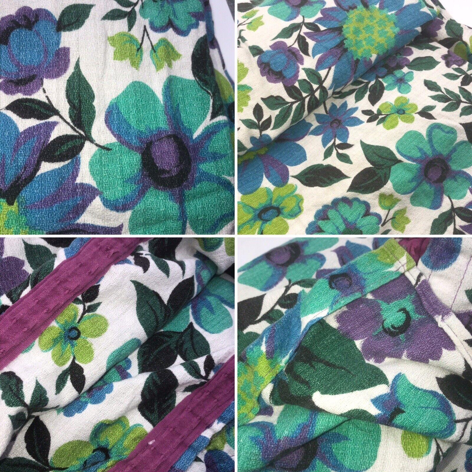 Enorme Púrpura Flor Floral Vintage Par De Cortinas De Tela 60 de ancho x 90 Gota